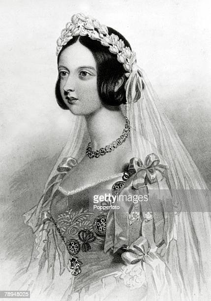 History Personalities British Royalty pic 1840 This illustration shows Queen Victoria in her wedding dress She married Prince Albert in 1840