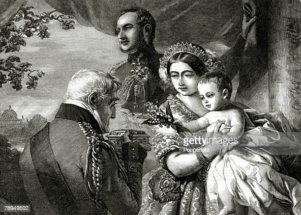History Personalities British Royalty pic 1850 Queen Victoria pictured with her husband Prince Albert and their baby the Duke of Connaught as they...