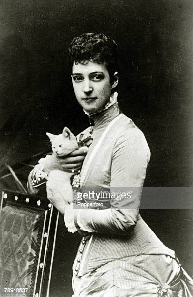 History Personalities British Royalty pic 1870 AlexandraPrincess of Wales pictured with a pet cat Queen Alexandra in her early days a Danish Princess...