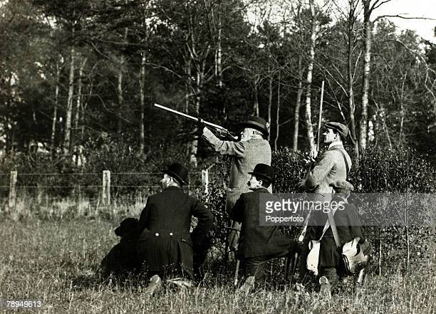 History Personalities British Royalty pic 1900's King Edward VII shooting on the Sandringham estate in Norfolk King Edward VII who succeeded his...