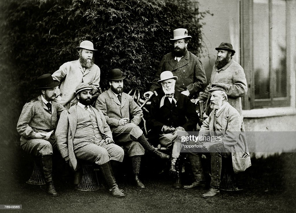 History Personalities. British Royalty. pic: 19th Century. HRH.The Prince of Wales, (sitting, centre) with standing l-r, Lord Frederick Fitzroy, Prince Edward of Saxe Weimar, Earl of Leicester. Sitting l-r, Captain Ellis, Maharajah Duleep Singh, General : News Photo