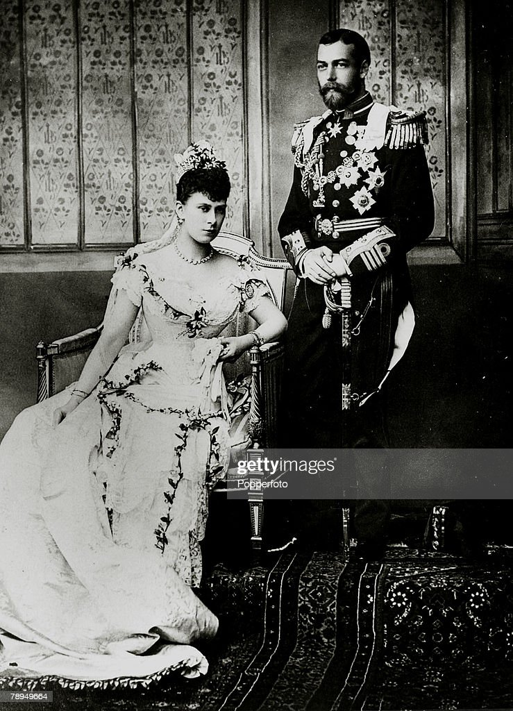 History Personalities. British Royalty. pic: 6th July 1893. HRH. The Duke of York, (1865-1936) later King George V, pictured with his bride Princess Mary of Teck on their wedding day. : News Photo