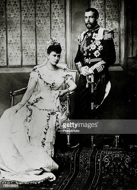 History Personalities British Royalty pic 6th July 1893 HRH The Duke of York later King George V pictured with his bride Princess Mary of Teck on...
