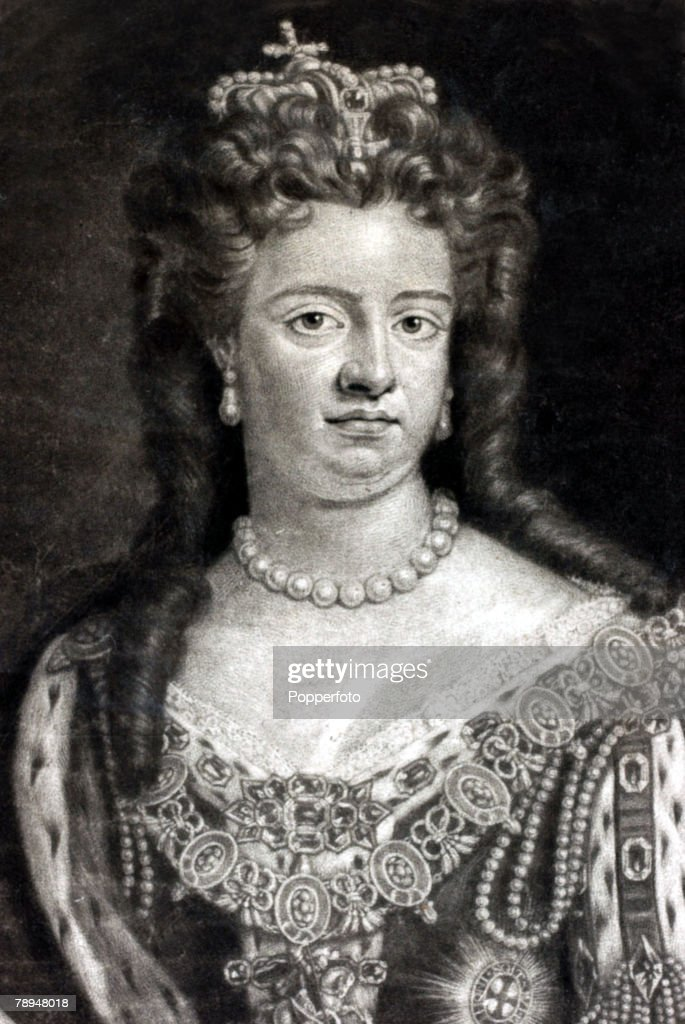 History Personalities. British Royalty. pic: circa 1710 Queen Anne, (1665-1714) who reigned 1702-1714. The single most important constitutional act during her reign was the 1707 Act of Union when England and Scotland were finally joined. : News Photo
