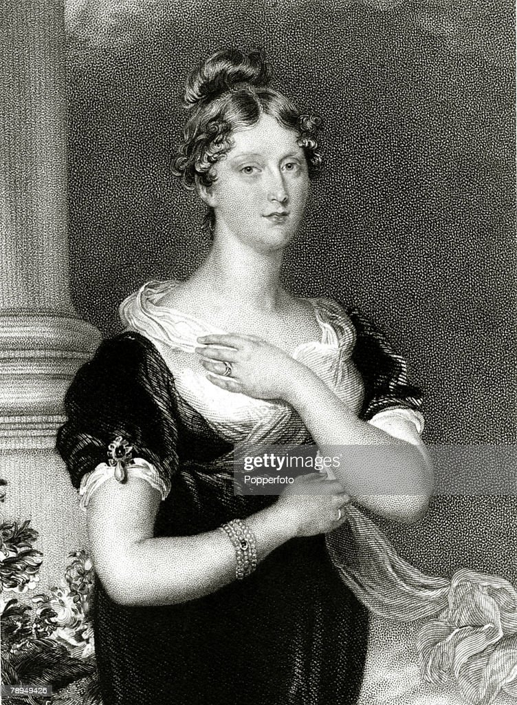 History Personalities, British Royalty, pic: circa 1815, This illustration shows Princess Charlotte of Wales, the only daughter of King George IV, and for 18 months the wife of Leopold, who became King of the Belgians