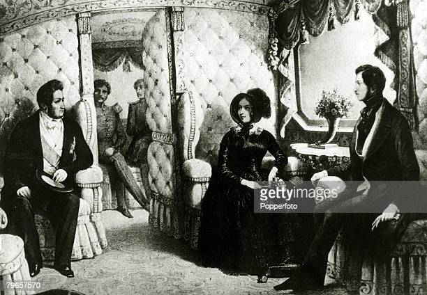 History Personalities British Royalty pic circa 1840's Queen Victoria pictured in the royal railway carraige with her husband Prince Albert right and...