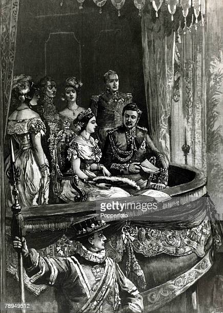 History Personalities British Royalty pic circa 1850 Queen Victoria pictured with her husband Prince Albert on a state visit to the opera Queen...