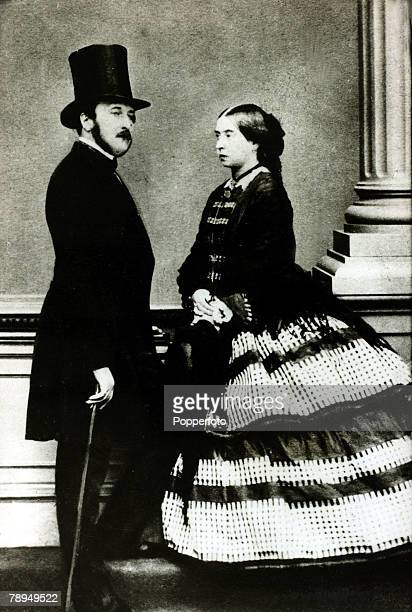 History Personalities, British Royalty, pic: circa 1860, Queen Victoria, pictured with her husband Prince Albert, who she married in 1840, Queen...