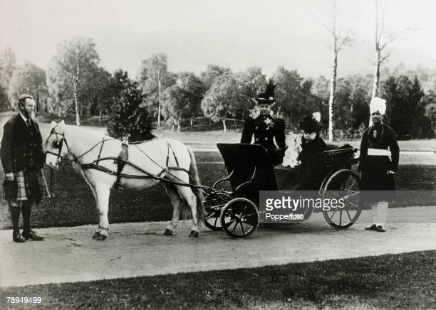 History Personalities British Royalty pic circa 1880's Queen Victoria in her carraige with her dog as her Lady in Wating stands behind her Highland...