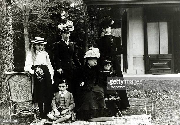 History Personalities British Royalty pic circa 1890's HMQueen Victoria with Standingleftright Princess Victoria Eugenie of Battenberg Princess...