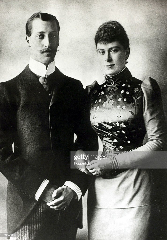 History Personalities, British Royalty, pic: circa 1891, HRH,The Duke of Clarence pictured with Princess Mary of Teck on their engagement, The Duke died of pneumonia before they married