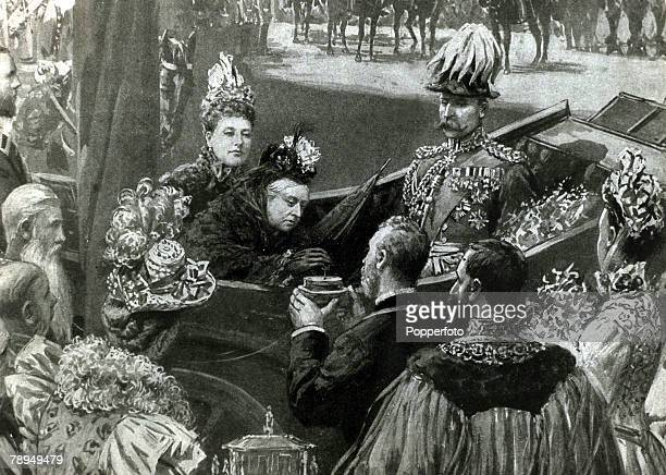 History Personalities British Royalty pic circa 1897 Queen Victoria pictured turning the key to a box which was thought by the crowd to be using...