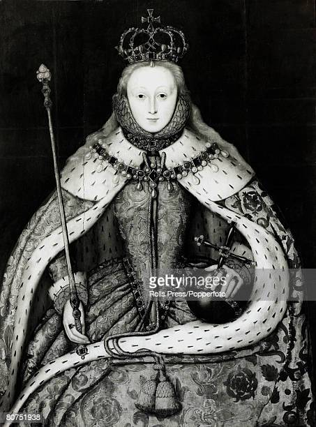 History Personalities English Royalty pic circa 1559 This illustration shows Queen Elizabeth I in her Coronation robes with sceptre and orb Queen...