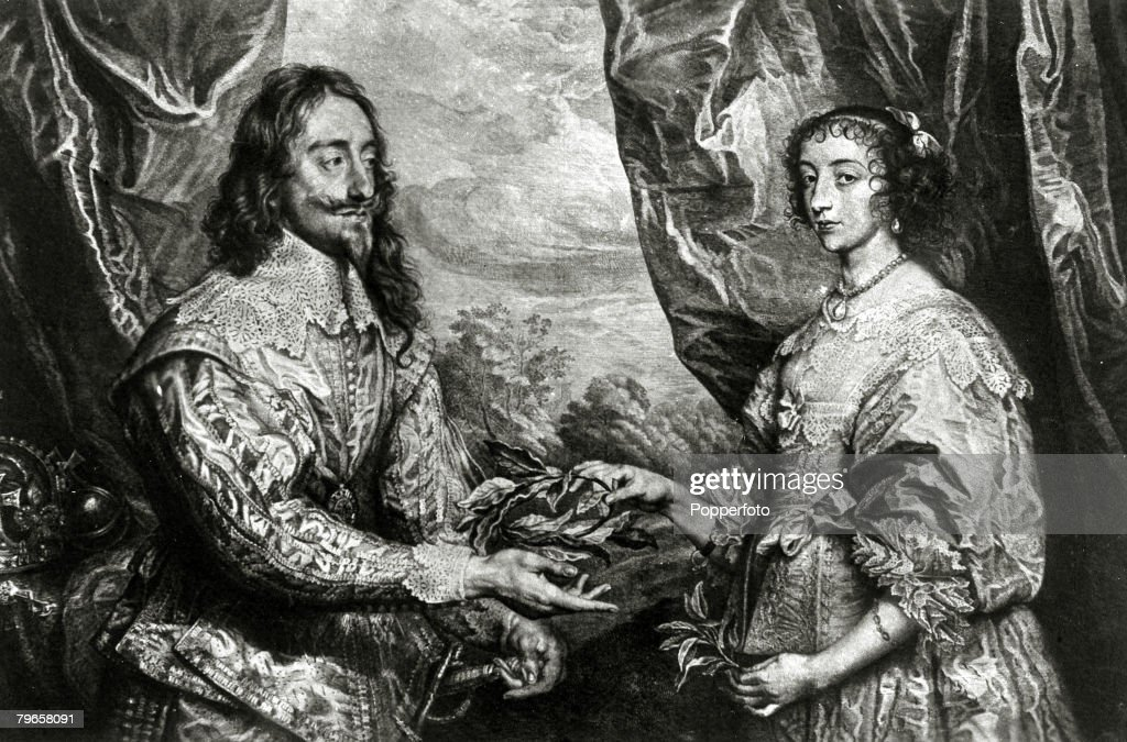 History Personalities, English Royalty, pic: circa 1640, King Charles I with his Queen Henrietta-Maria, King Charles I (1600-1649) who reigned 1625-1649 was eventually executed for treason in 1649, when after his religous and economic differences with Par : News Photo