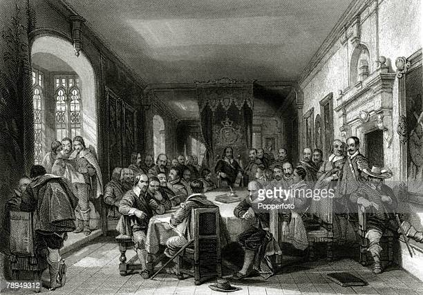 History Personalities English Royalty pic circa 1648 King Charles I and the Parliamentary Commissioners at the conference on the Isle of Wight King...