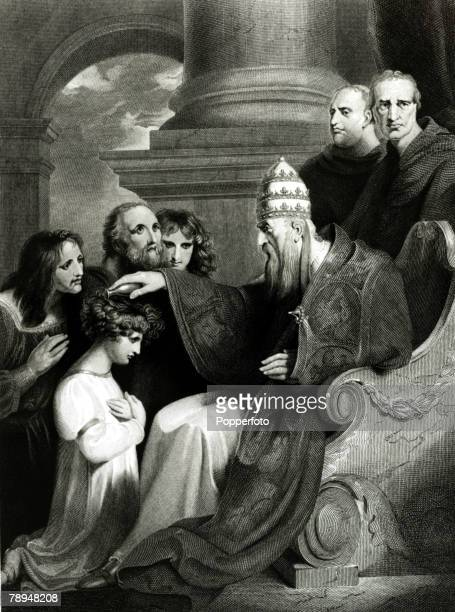 History Personalities English Royalty pic circa 880 This illustration shows King Alfred the Great who ruled 871899 as a boy kneeling before Pope Leo...
