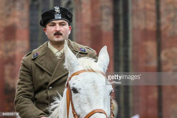 History reenactor dressed as gen Wladyslaw Anders is seen during the Cursed soldiers Day parade on 26 February 2017 in Gdansk Poland The Cursed...