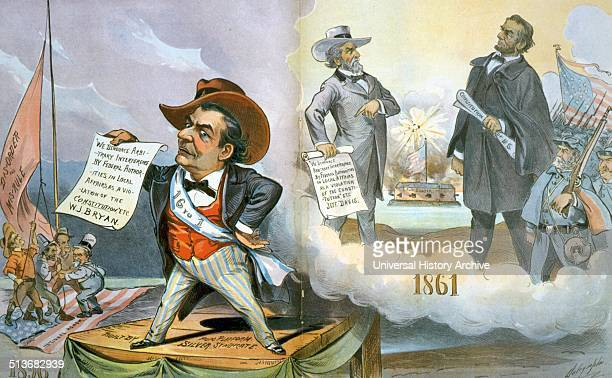 History repeats itself by Louis Dalrymple Cartoon showing William J Bryan facing Tillman Altgeld Debs and JP Jones who are raising the flag 'disorder...