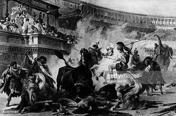 History roman antiquity Circus games in ancient rome Fight between gladiators and wild animals during roman imperial period after a painting of 19th...