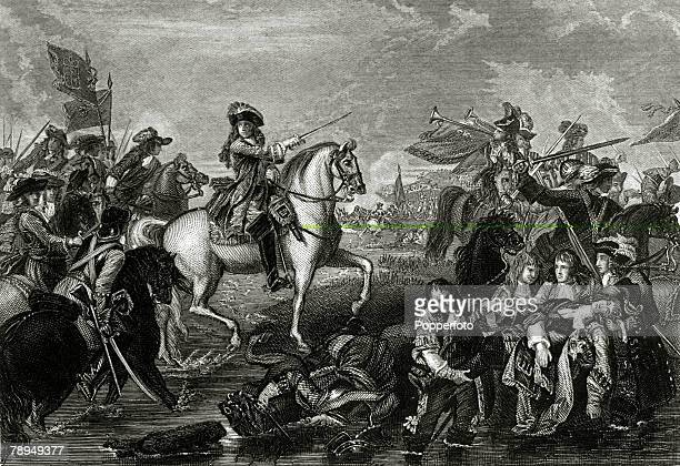 1st July 1690 This illustration shows the Battle of the Boyne fought near Drogheda Ireland when the Protestant army of William III defeated the...