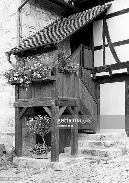 history wooden staircase with roofing flower arrangements monastery Bebenhausen DTuebingen DTuebingenBebenhausen Neckar nature reserve Schoenbuch...