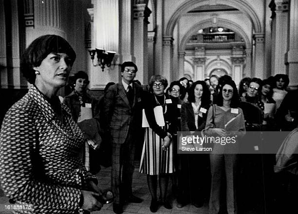JAN 25 1979 HistoryMaking Meeting Lt Gov Nancy Dick meets with about 60 members of the Colorado Library Association in a corridor outside her office...