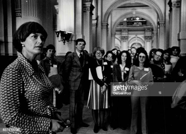 HistoryMaking Meeting Lt Gov Nancy Dick meets with about 60 members of the Colorado Library Association in a corridor outside her office one of the...