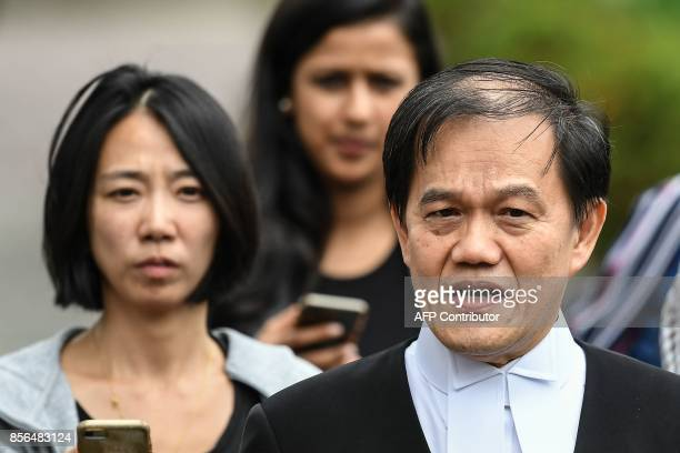Hisyam Teh Toh Teik one of the lawyers for Vietnamese woman Doan Thi Huong speaks to journalists during a break in the trial for Huong and Indonesian...