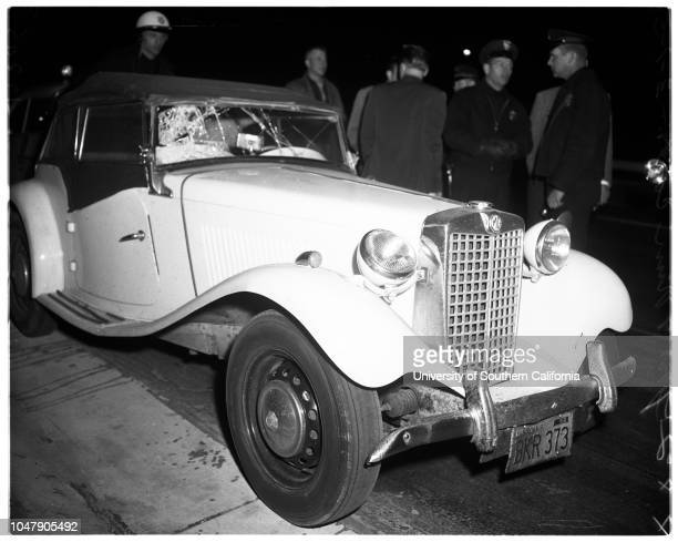 Hit and run , 1 March 1958. Officer Laverne Ridenour ;Wini Gronvold ;Norma Grace Beck -- 30 years .;Caption slip reads: 'Photographer: Grey. Date: ....