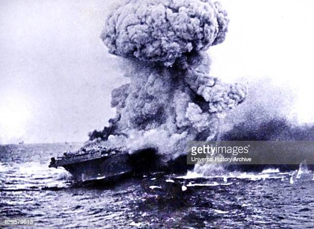 Hit by two torpedoes and two Japanese bombs the Lexington is in flames