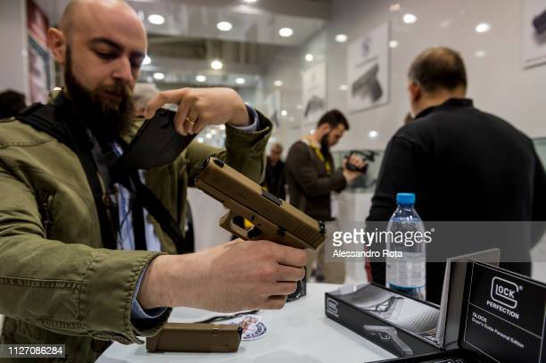 VICENZA VENETO ITALY FEBRUARY 12 2018 Hit Show the Italian international event for hounting outdoor equipment shooting sports individual protection...