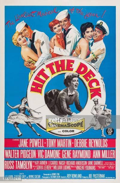 Jane Powell Vic Damone Debbie Reynolds Russ Tamblyn Ann Miller Tony Martin bottom Ann Miller dancing on poster art 1955