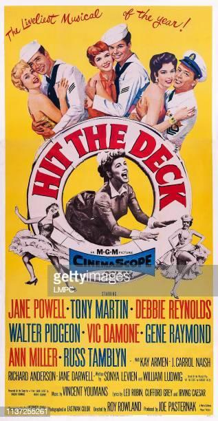 Hit The Deck poster US poster art top from left Jane Powell Vic Damone Debbie Reynolds Russ Tamblyn Ann Miller Tony Martin 1955