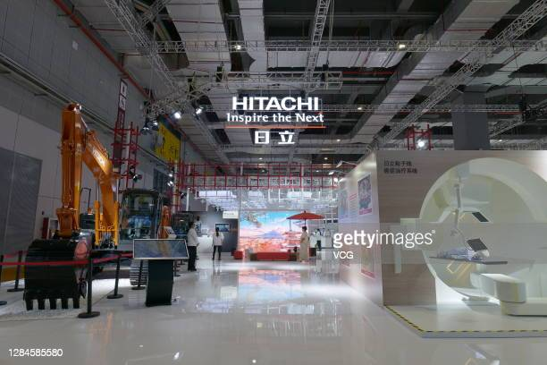 Hitachi booth is seen during the 3rd China International Import Expo at the National Exhibition and Convention Center on November 7, 2020 in...