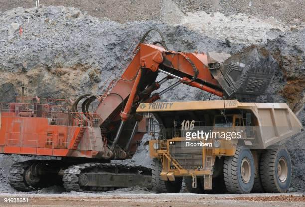 Hitachi Loading Shovel Dumps Gold Bearing Ore Into A Caterpillar 789 Mining Truck In The