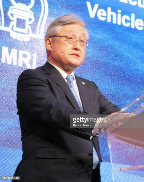 Hitachi Ltd. President Toshiaki Higashihara addresses an event in Milan on Oct. 18, 2017. Higashihara told reporters the same day that the company is...