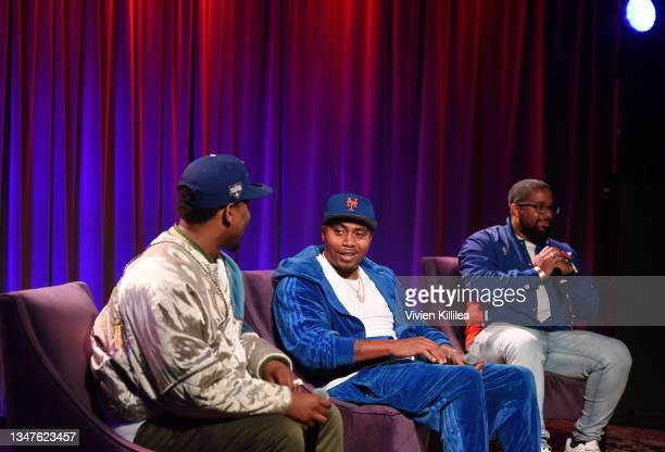 Hit-Boy, Nas and Carl Lamarre speak at The GRAMMY Museum on October 19, 2021 in Los Angeles, California.