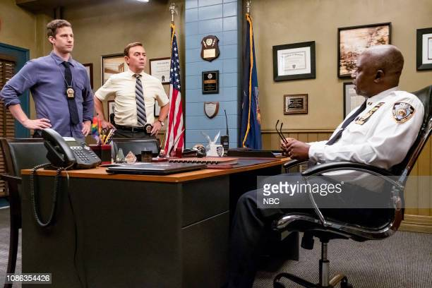 NINE Hitchcock Scully Episode 602 Pictured Andy Samberg as Jake Peralta Joe Lo Truglio as Charles Boyle Andre Braugher as Captain Holt