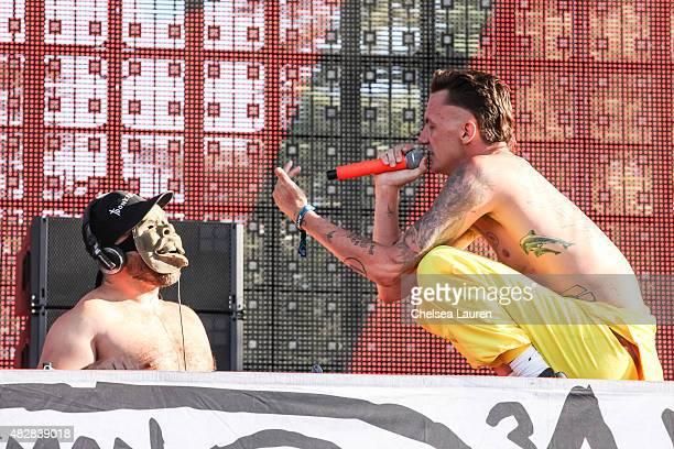 HiTek and vocalist Ninja of Die Antwoord perform during Hard Summer Music Festival at Fairplex on August 2 2015 in Pomona California