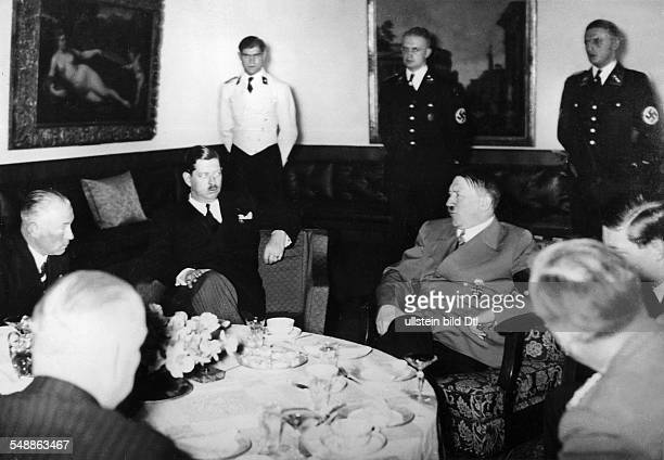 Hitler Adolf Politician NSDAP Germany *20041889 Adolf Hitler receiving King Carol II of Romania at his residence on the Obersalzberg near...