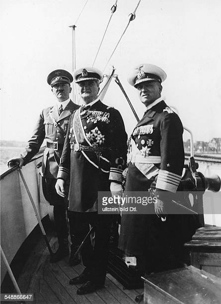 Hitler Adolf Politician NSDAP Germany *20041889 Foreign relations Germany/ Hungary Miklos Horthy de Nagybanya in Germany attending the naval review...