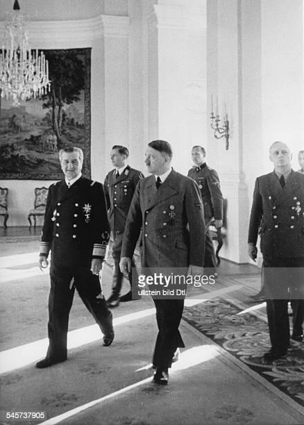 Hitler Adolf Politician NSDAP Germany *20041889 Hitler meets NNikolaus Horthy von Nagybanya at Klessheim Castle near Salzburg on the right Goreign...