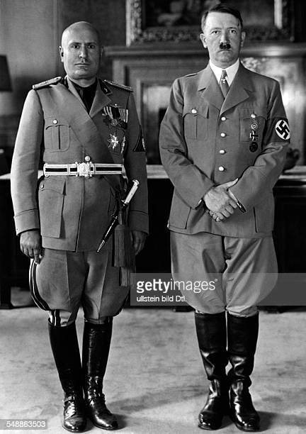 Hitler Adolf Politician NSDAP Germany *20041889 Hitler on a state visit to Italy Adolf Hitler and Benito Mussolini at Hitler's apartment in the...
