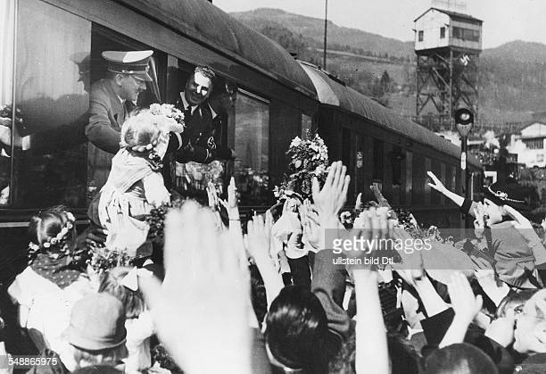 Hitler Adolf Politician NSDAP Germany *20041889 Hitler on his journey in preparation for the plepiscite for the ' Anschluss ' of Austria shown in a...