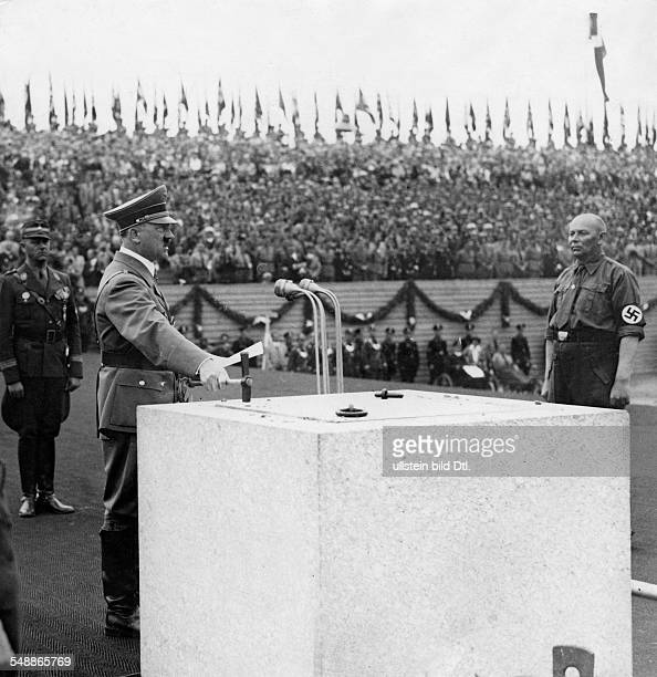 Hitler Adolf Politician NSDAP Germany *20041889 NSDAP Nuremberg Rally 1937 Adolf Hitler at the laying of the foundation stone of the 'German stadium'...