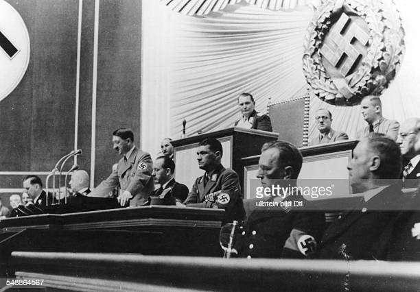 Hitler, Adolf - Politician, NSDAP, Germany *20.04.1889-+ Reichstag meeting at the Krolloper Berlin after the ' Anschluss ' of Austria - Speech of...