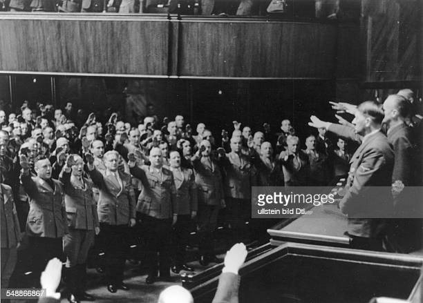 Hitler Adolf Politician NSDAP Germany *20041889 Reichstag meeting after the war declaration against the USA at the Krolloper in Berlin the...