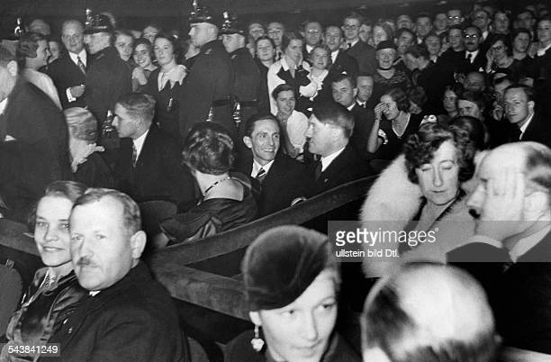 Hitler Adolf Politician NSDAP Germany*20041889 at a concert of the Italian Singer Benjamino Gigli in the Scala Berlin Support for the...