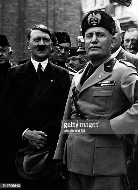 Hitler Adolf Politician NSDAP Germany*20041889Chancellor of GermanyVisit to Italy 1934 Hitler and Benito Mussolini at the Piazza San Marco in Venice...