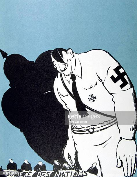 'Hitler and the League of Nations' 1935 A huge Hitler and the shadow of German militarism loom above the delegates at a meeting of the League of...